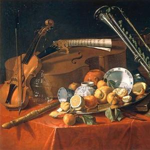 Tableau de nature morte avec instruments de musique